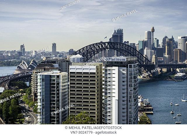 Sydney Harbour Bridge, Opera House and Central Business district, view from North Sydney, New South Wales, Australia