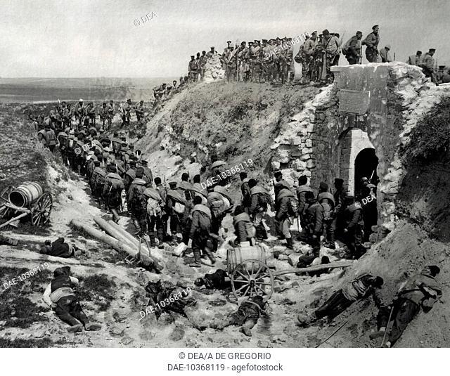 The Bulgarian army laying siege to the fort of Kaucas-Tabia. Serbian-Bulgarian War, Bulgaria, 19th century.  Sofia, Museo Nazionale Di Storia Militare (History...