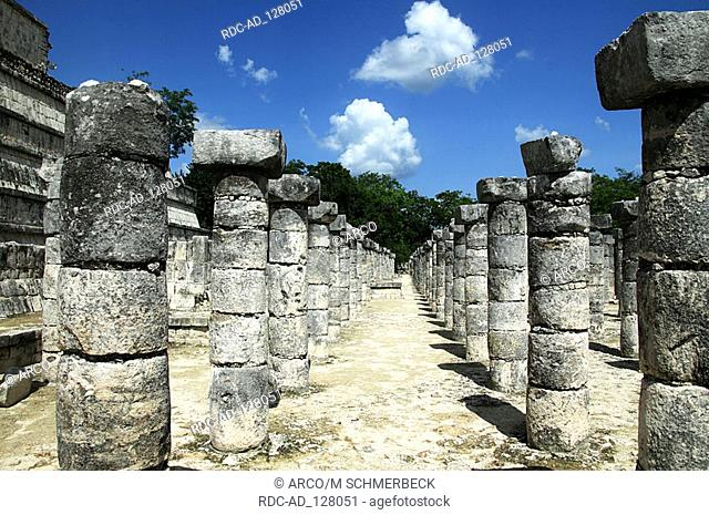 Columns Temple of a Thousand Warriors Chichen Itza Yucatan Mexico column Templos de los guerreros maya