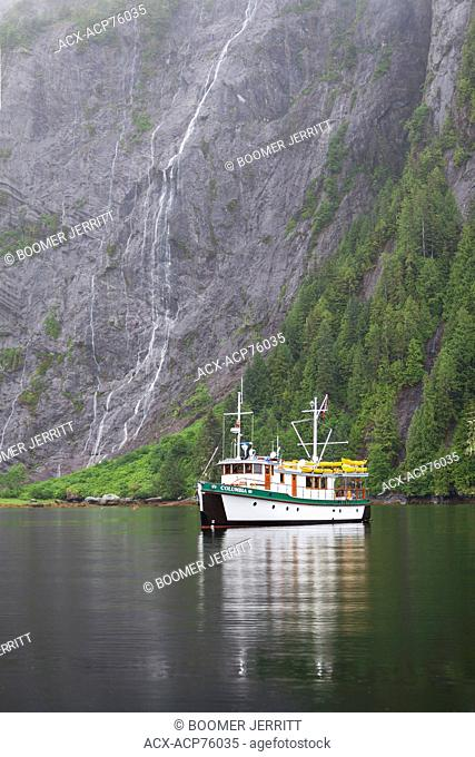 Columbia III at anchor at the head of Mussel Inlet, deep in the Great Bear Rainforest. Mussel Inlet, Fjordland, Great Bear Rainforest