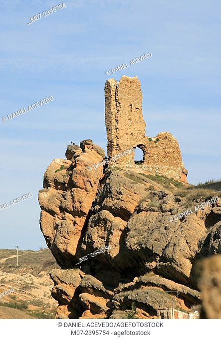 Auto castle, Cidacos valley, Biosphere reserve, La Rioja baja region, Spain, Europe
