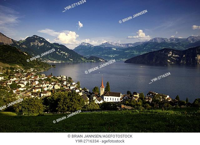 Town of Weggis along the shore of Lake Lucerne, Lucerne, Switzerland