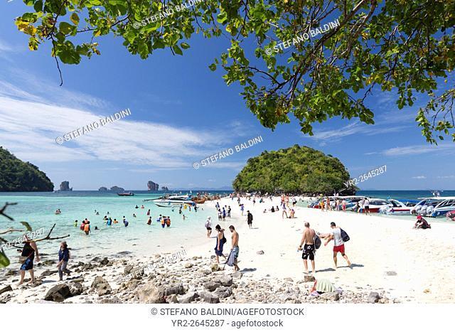 Visitors on the white sand beach of Ko Tup island, Krabi province, Thailand