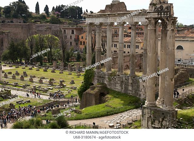 Italy, Rome, Roman Forum or Forum of Rome, archaeological site, main square of ancient Rome