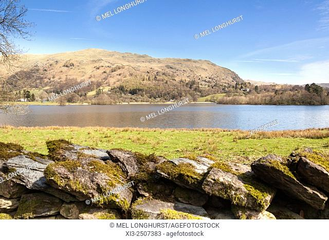 View of Lake Grasmere, Grasmere, Lake District, Cumbria, England