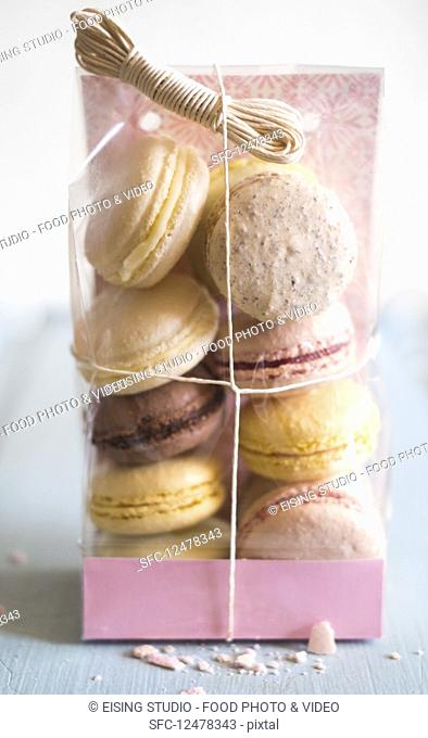 Various French macarons in cellophane wrap