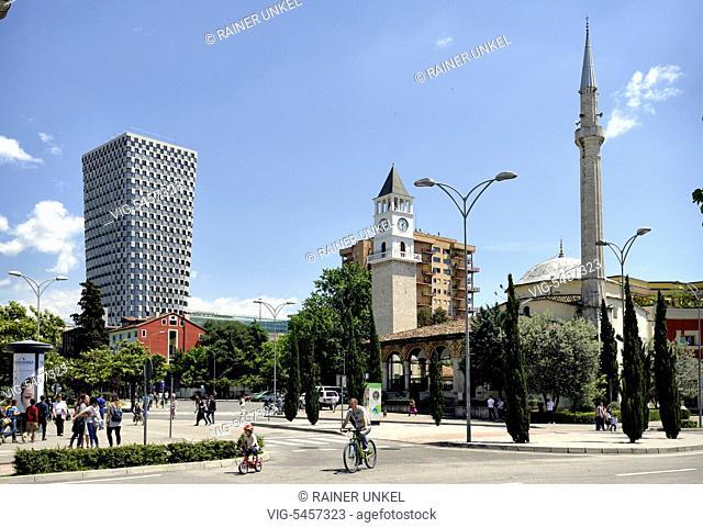 ALB , ALBANIA : A modern apartment highrise and the Et'hem Bey Mosque in Tirana , 22.05.2016 - Tirana, Tirana, Albania, 22/05/2016