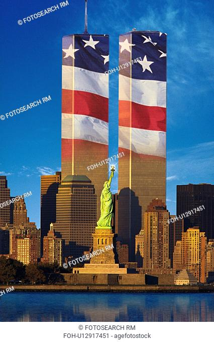 World Trade Center with American flag superimposed