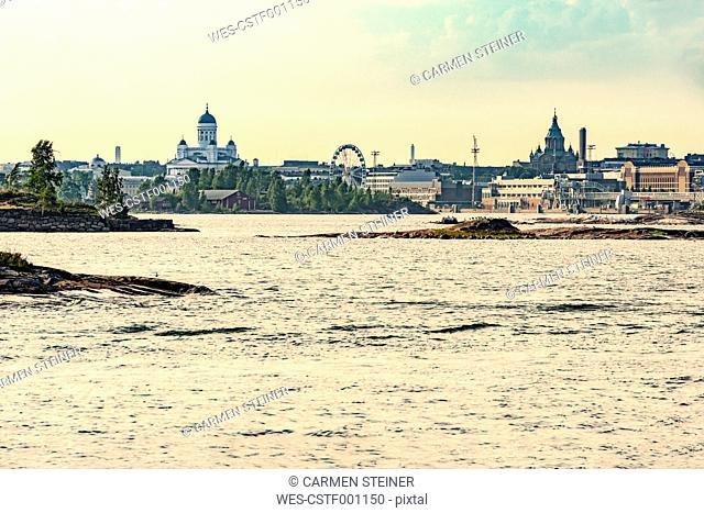 Finland, Helsinki, Harbour and inner city, Uspenski Cathedral, Helsinki Cathedral, Finnair Skywheel