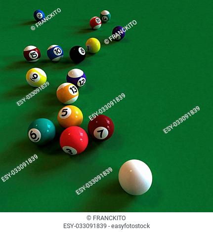 Cue ball and all numbered billiard balls against a green felt table