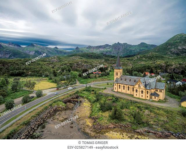 Vagan church also known as Lofoten cathedral in Norway. Aerial view