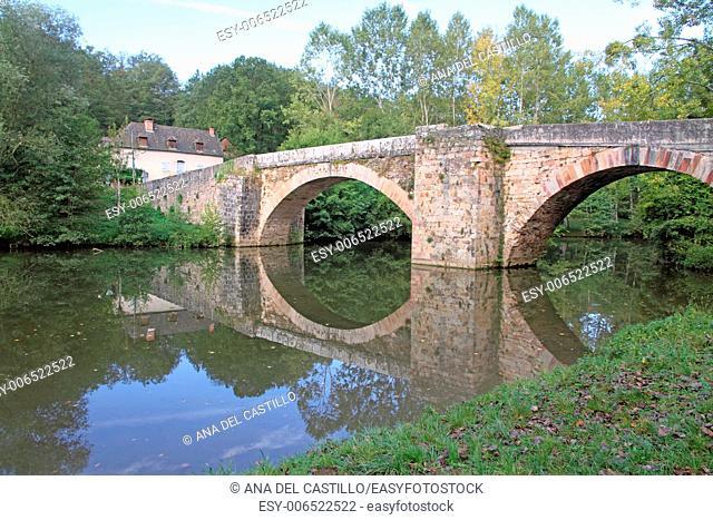 Stone bridge Country landscape in Aveyron river, near Cordes sur Ciel France