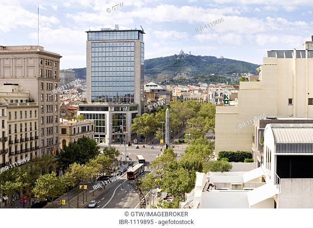Passeig de Gracia viewed from the roof of the Casa Mila or La Pedrera, Unesco World Heritage Site, Eixample District, Barcelona, Catalonia, Spain
