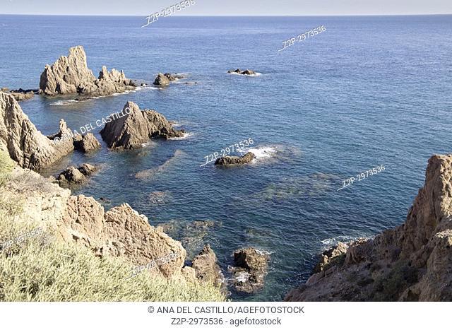 The mermaid reef Volcanic coast near Cabo de Gata lighthouse, Almeria, Andalusia, Spain