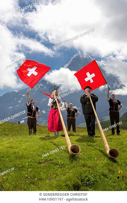 Switzerland, Europe, alphorn, flag throwing, flag swing, tradition, folklore, national costumes, national costume party, event, canton, Bern, Bernese Alps