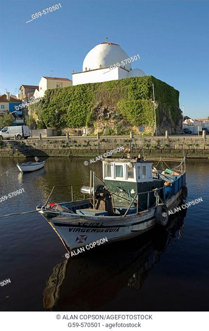 Vila do Conde. Fishing boats and Capela de Nossa Senhora do Soccorro. Douro Region. Northern Portugal