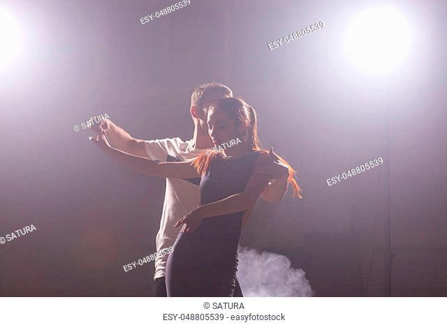 Young love couple dancing social danse kizomba or bachata