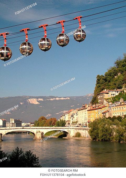 France, Grenoble, Isere, Rhone-Alpes, Europe, Telepherique de la Bastille, gondola, Isere River