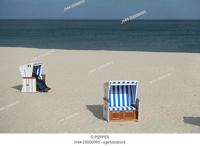 coast an beach chairs in Sylt, Westerland
