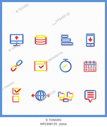 Set of various line icons related to business