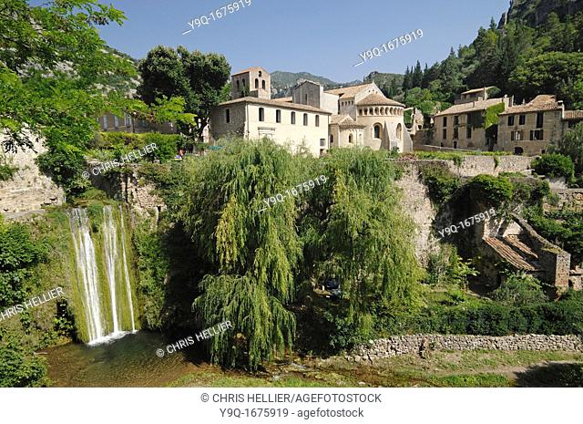 Monastery or Abbey of Gellone and Waterfall on Verdus River Saint-Guilhem-le-Desert Hérault France