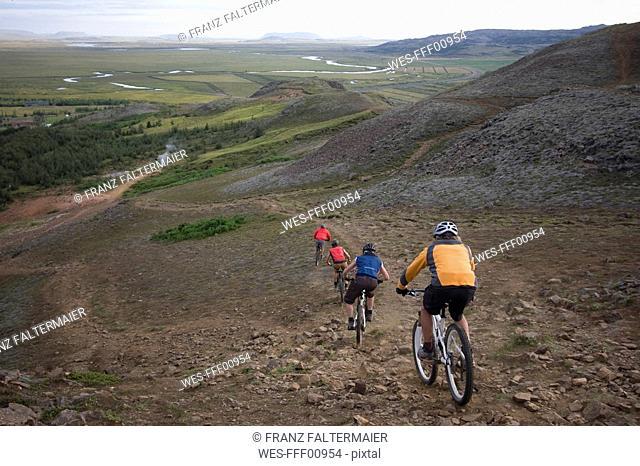 Iceland, Men mountain biking downhill, rear view
