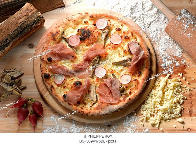 Overhead view of parma ham and radish pizza