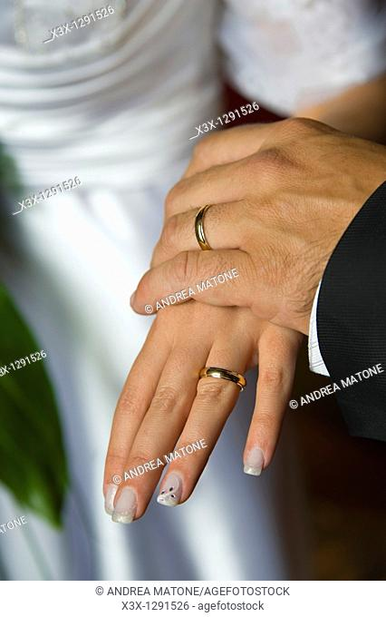 Wedding rings on each other's hands