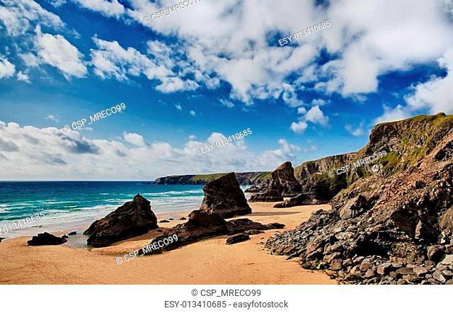 Bedruthan Steps beach in Cornwall