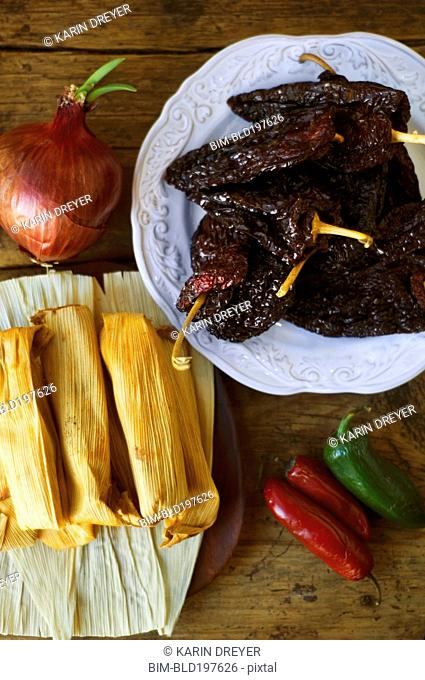 Mexican tamales, chilles, peppers and jalapenos