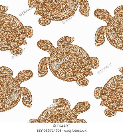 Sea turtle illustration in paisley mehndi style wallpaper pattern. The tortoise reptile animal. Tattoo style tortoise-shell