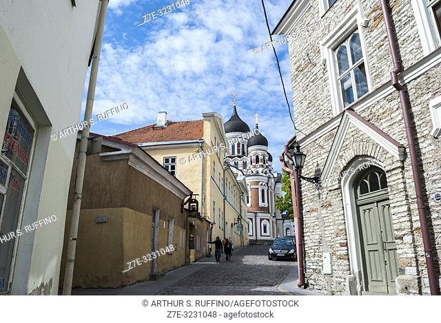 Street in Old Town with Alexander Nevsky Cathedral in the background. Toompea Hill, Tallinn, Estonia, Baltic States