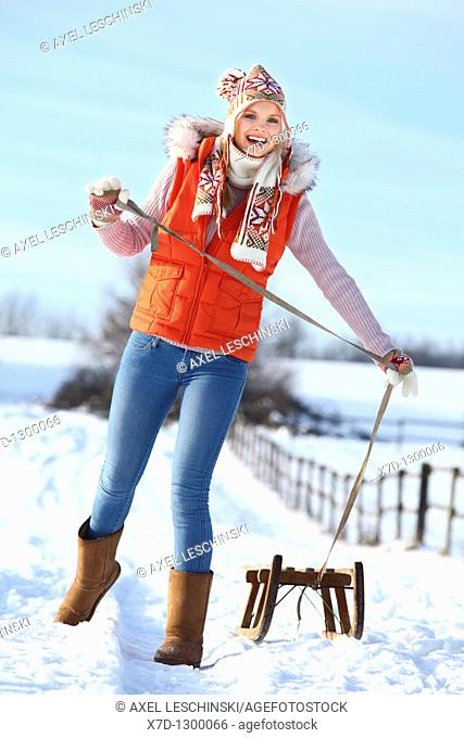 young woman in winterly landscape