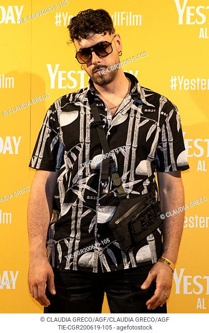 Davide Lombardi art name Warez during the photocall of film ' Yesterday ' in Milan, ITALY-20-06-2019