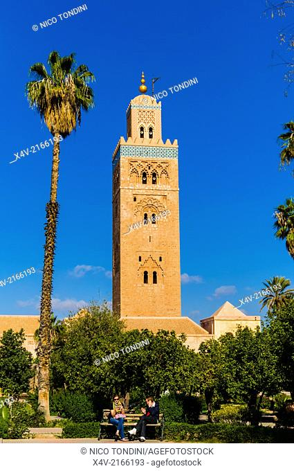 Minaret of the Koutoubia Mosque, Marrakesh (Marrakech), Morocco, North Africa, Africa
