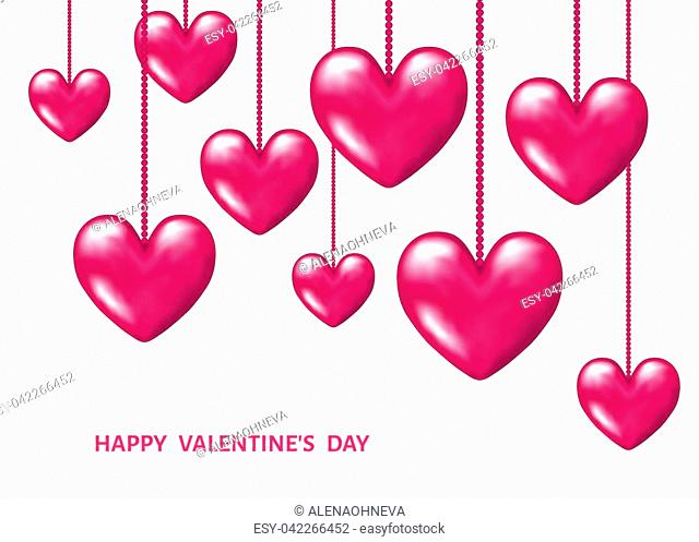 Valentines day background with hanging pink realistic 3d hearts. Vector illustration for party invitation flyer, greeting card, save the date card templates
