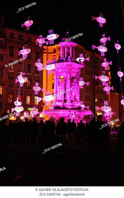 Fountain of la place des Jacobins during la fête des lumières, Lyon, Rhône, Rhône-Alpes, France