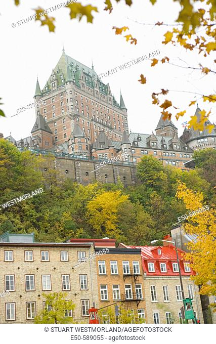 View of Chateau Frontenac from Quartier du Petit-Champlain, Vieux-Quebec (Old Quebec City), the only Walled City in North America, a World Heritage Site, Quebec