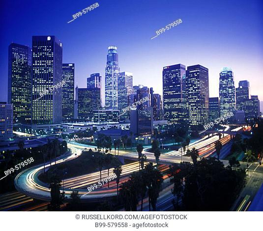 Downtown Skyline & Harbor Freeway, Los Angeles, California, Usa