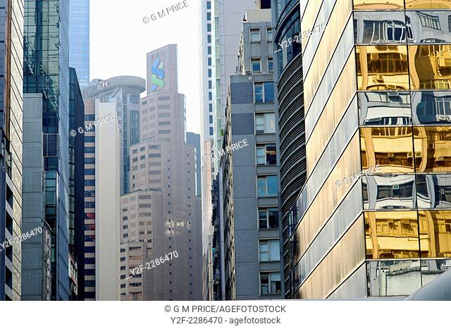 pattern of commercial building facades in downtown Hong Kong