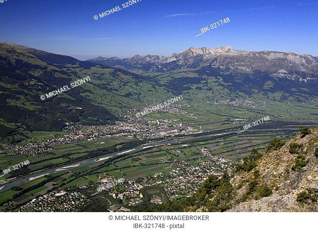 View from hiking trail to Buchs, St. Gall Rhine River Valley and Toggenburg, St. Gall, Switzerland