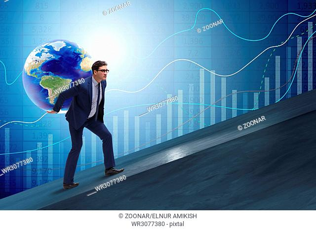 businessman carrying earth on his shoulders stock photos and images