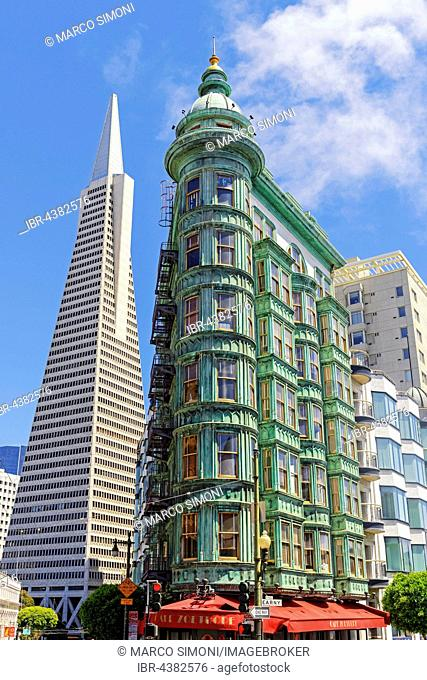 TransAmerica Pyramid and Columbus Tower, San Francisco, California, USA