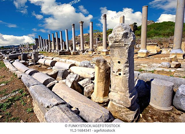 Ruins of the Roman Columned street which was lined with shops & stores  Perge Perga archaeological site, Turkey