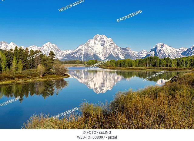 USA, Wyoming, Grand Teton National Park, Teton Range, Mount Moran, Oxbow Bend, Snake River