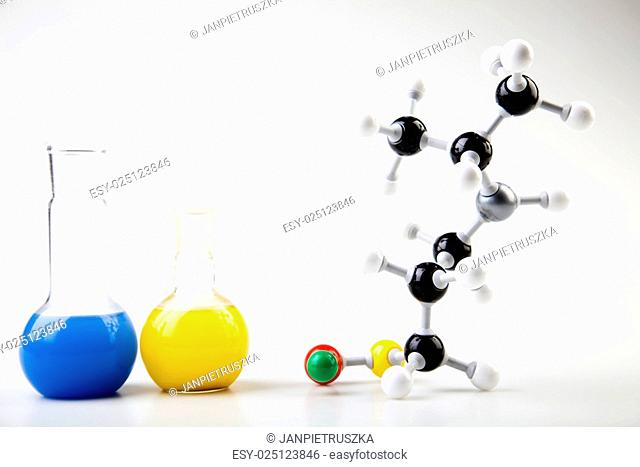 Atom, Molecules model, Laboratory glassware