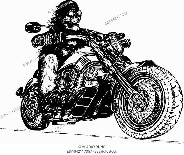 logo roadster stock photos and images age fotostock Kawasaki Diesel Motorcycle vector hand drawn skeleton rider on motorcycle vintage eternal biker illustration for custom chopper logotype