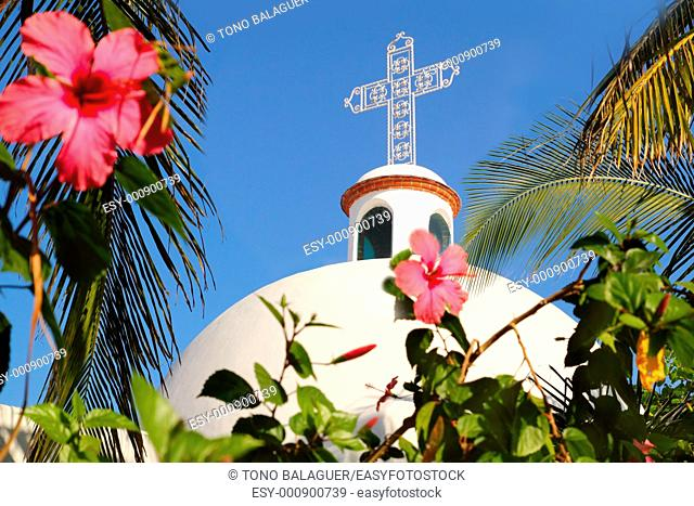 Playa del Carmen white Mexican church archs belfry Mayan Riviera