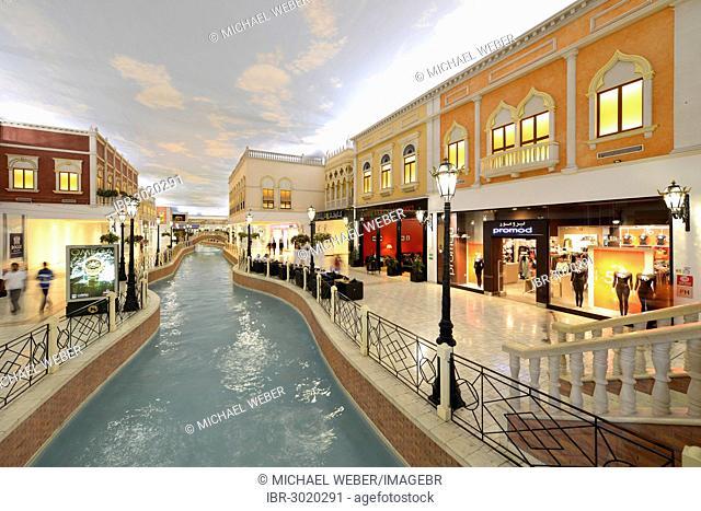 Canal, luxury shopping centre, Villaggio Mall designed in a Venetian style