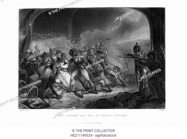 'Last Effort and Fall of Tippoo Sultan' (1799), mid-19th century. The death of Tippoo Sahib (1753-1799), Sultan of Mysore at his stronghold, Seringapatam